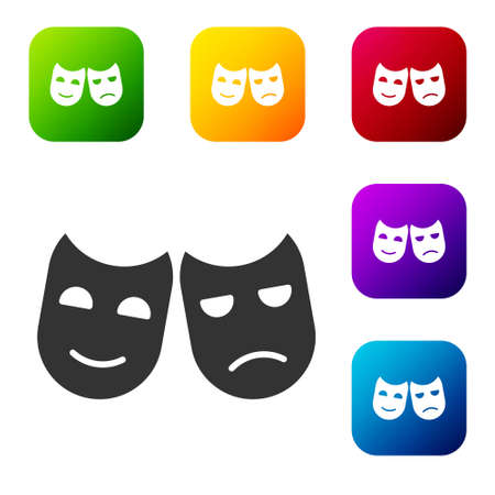 Black Comedy and tragedy theatrical masks icon isolated on white background. Set icons in color square buttons. Vector Illustration 일러스트