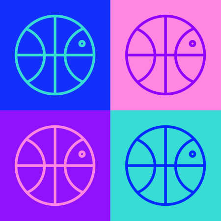 Pop art line Basketball ball icon isolated on color background. Sport symbol. Vector Illustration