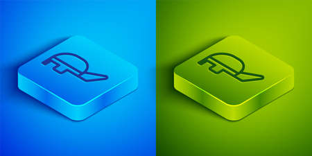 Isometric line Fencing helmet mask icon isolated on blue and green background. Traditional sport defense. Square button. Vector Illustration