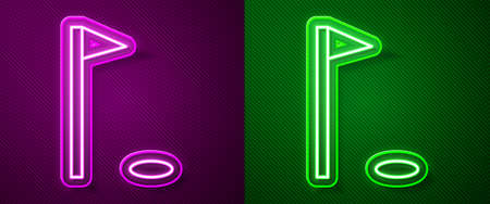 Glowing neon line Golf flag icon isolated on purple and green background. Golf equipment or accessory. Vector Illustration Illustration
