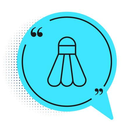 Black line Badminton shuttlecock icon isolated on white background. Sport equipment. Blue speech bubble symbol. Vector Illustration
