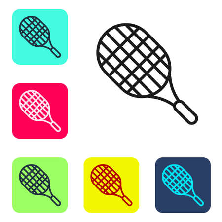 Black line Tennis racket icon isolated on white background. Sport equipment. Set icons in color square buttons. Vector Illustration