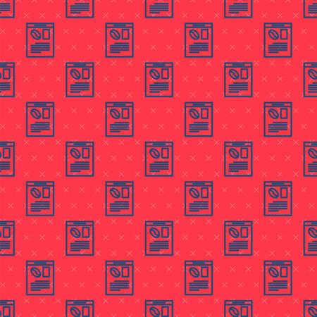 Blue line Newspaper and coffee icon isolated seamless pattern on red background. Mass media symbol. Vector Illustration