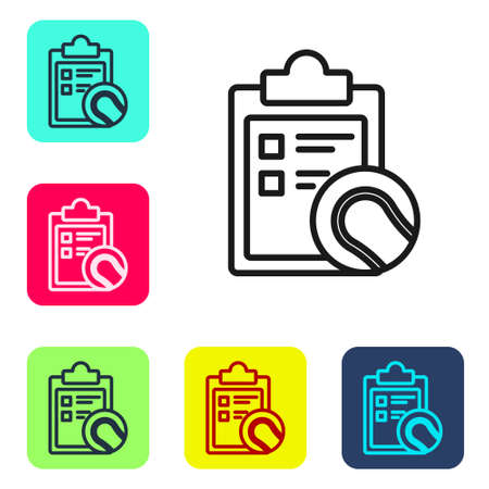 Black line Checklist clipboard and tennis ball icon isolated on white background. Sport equipment. Set icons in color square buttons. Vector Illustration