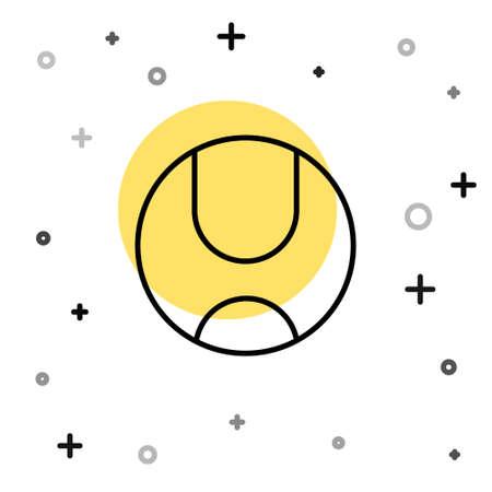 Black line Tennis ball icon isolated on white background. Sport equipment. Random dynamic shapes. Vector Illustration Illustration