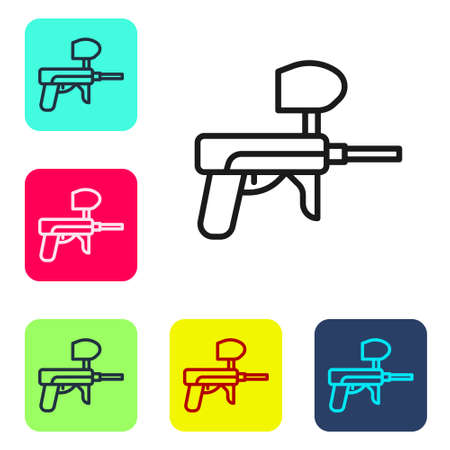 Black line Paintball gun icon isolated on white background. Set icons in color square buttons. Vector Illustration