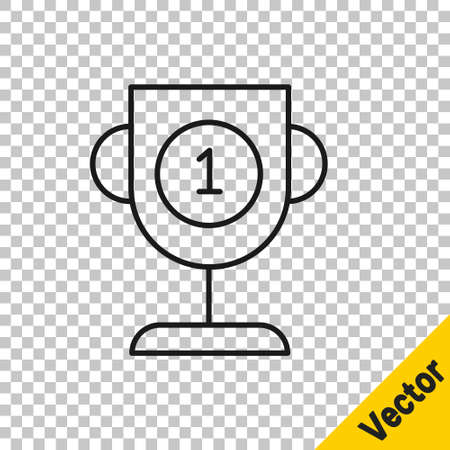 Black line Award cup icon isolated on transparent background. Winner trophy symbol. Championship or competition trophy. Sports achievement sign. Vector Illustration Illustration