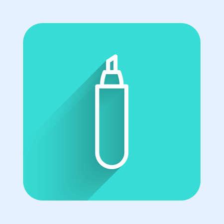 White line Marker pen icon isolated with long shadow. Green square button. Vector Illustration