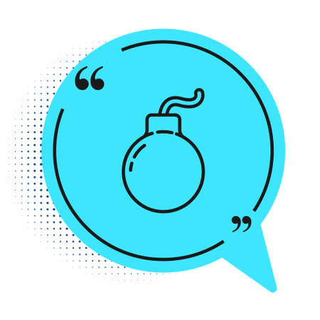 Black line Bomb ready to explode icon isolated on white background. Blue speech bubble symbol. Vector Illustration Ilustracja