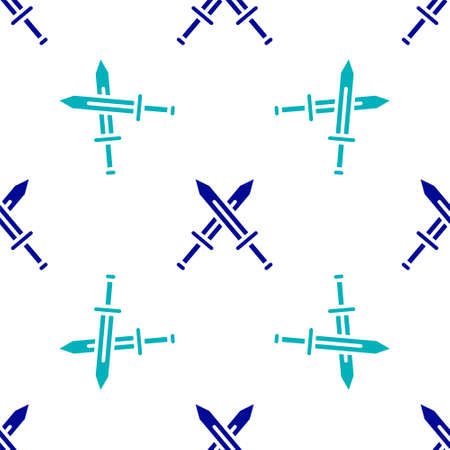 Crossed medieval sword icon isolated seamless pattern on white background. Medieval weapon. Vector