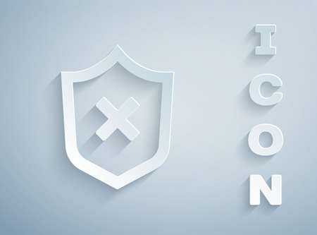 Paper cut Shield with cross mark icon isolated on grey background. Shield and rejected. Notice of refusal. Paper art style. Vector