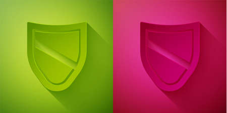 Paper cut Shield icon isolated on green and pink background. Guard sign. Security, safety, protection, privacy concept. Paper art style. Vector