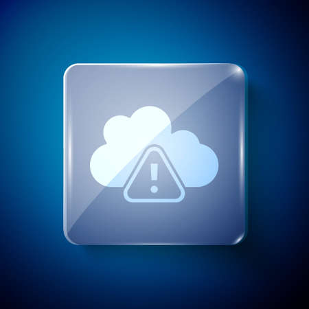 White Storm warning icon isolated on blue background. Exclamation mark in triangle symbol. Weather icon of storm. Square glass panels. Vector