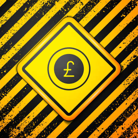 Black Coin money with pound sterling symbol icon isolated on yellow background. Banking currency sign. Cash symbol. Warning sign. Vector