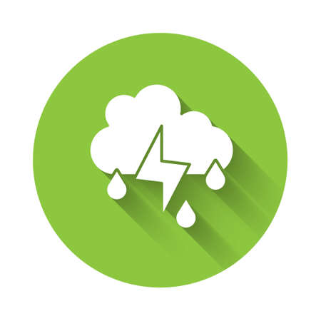 White Cloud with rain and lightning icon isolated with long shadow. Rain cloud precipitation with rain drops.Weather icon of storm. Green circle button. Vector