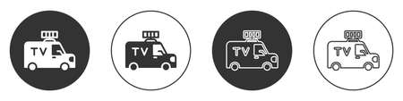 Black TV News car with equipment on the roof icon isolated on white background. Circle button. Vector 向量圖像
