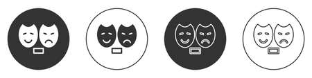 Black Comedy and tragedy theatrical masks icon isolated on white background. Circle button. Vector