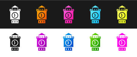 Set Big Ben tower icon isolated on black and white background. Symbol of London and United Kingdom. Vector