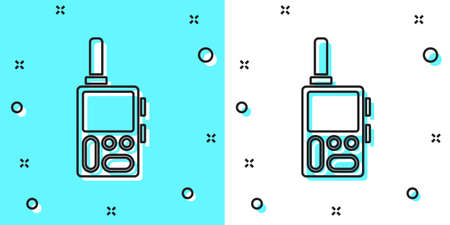 Black line Walkie talkie icon isolated on green and white background. Portable radio transmitter icon. Radio transceiver sign. Random dynamic shapes. Vector