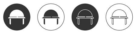 Black Military helmet icon isolated on white background. Army hat symbol of defense and protect. Protective hat. Circle button. Vector