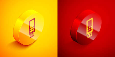 Isometric USB flash drive icon isolated on orange and red background. Circle button. Vector 向量圖像