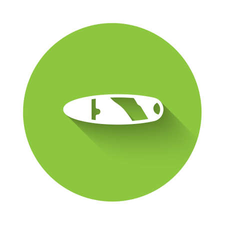 White Cigar icon isolated with long shadow. Green circle button. Vector