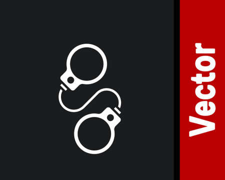 White Handcuffs icon isolated on black background. Vector