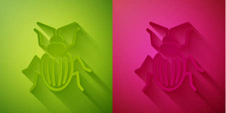 Paper cut Chafer beetle icon isolated on green and pink background. Paper art style. Vector