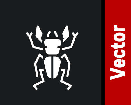 White Beetle deer icon isolated on black background. Horned beetle. Big insect. Vector Illusztráció