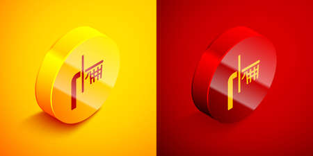 Isometric Basketball backboard icon isolated on orange and red background. Circle button. Vector