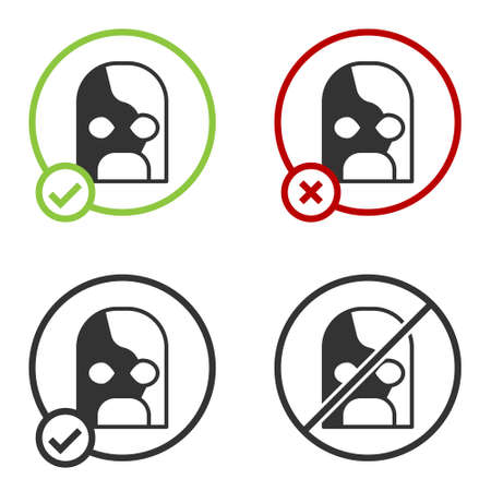 Black Mexican wrestler icon isolated on white background. Circle button. Vector 向量圖像