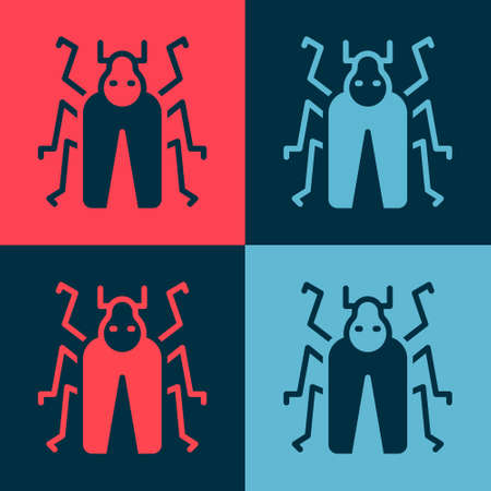 Pop art Beetle bug icon isolated on color background. Vector