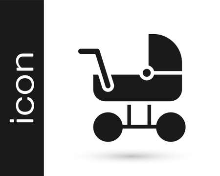 Black Baby stroller icon isolated on white background. Baby carriage, buggy, pram, stroller, wheel. Vector Ilustrace