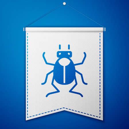 Blue Beetle bug icon isolated on blue background. White pennant template. Vector Illusztráció