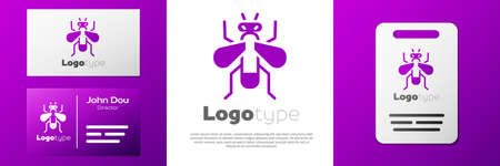 Logotype Insect fly icon isolated on white background. Design template element. Vector Ilustracja