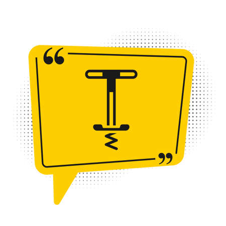 Black Pogo stick jumping toy icon isolated on white background. Yellow speech bubble symbol. Vector