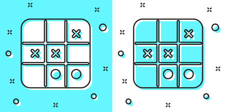 Black line Tic tac toe game icon isolated on green and white background. Random dynamic shapes. Vector Çizim