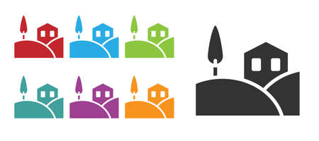 Black Village landscape icon isolated on white background. Set icons colorful. Vector