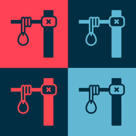 Pop art Gallows rope loop hanging icon isolated on color background. Rope tied into noose.  Hanging or lynching. Vector