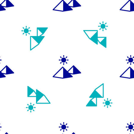 Blue Egypt pyramids icon isolated seamless pattern on white background. Symbol of ancient Egypt. Vector
