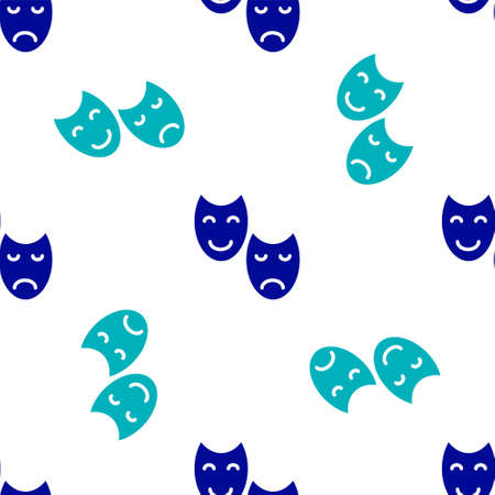 Blue Comedy and tragedy theatrical masks icon isolated seamless pattern on white background. Vector