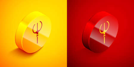Isometric Neptune Trident icon isolated on orange and red background. Circle button. Vector