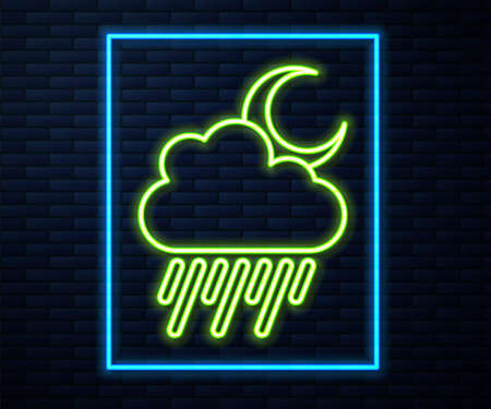 Glowing neon line Cloud with rain and moon icon isolated on brick wall background. Rain cloud precipitation with rain drops. Vector