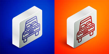 Isometric line Car icon isolated on blue and orange background. Front view. Silver square button. Vector