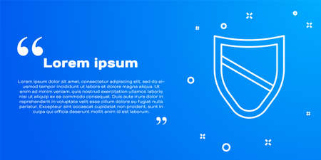 White line Shield icon isolated on blue background. Guard sign. Security, safety, protection, privacy concept. Vector Ilustração