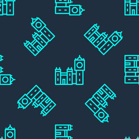 Green line Big Ben tower icon isolated seamless pattern on blue background. Symbol of London and United Kingdom. Vector