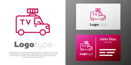 Logotype line TV News car with equipment on the roof icon isolated on white background.