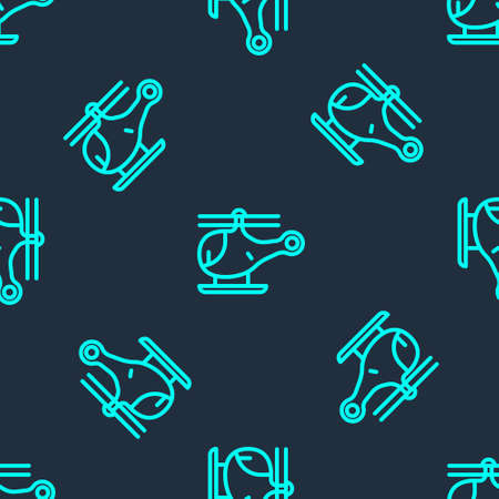 Green line Helicopter aircraft vehicle icon isolated seamless pattern on blue background. Vector