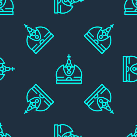 Green line King crown icon isolated seamless pattern on blue background. Vector Ilustrace
