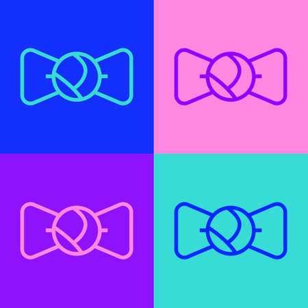 Pop art line Bow tie icon isolated on color background. Vector Stock Illustratie